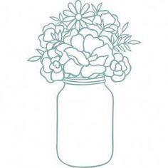 Silhouette Design Store: Mason Jar With Flowers Description Original hand drawn design from Wild Pilot. Mason Jar Art, Mason Jar Flowers, Mason Jar Crafts, Diy Flowers, Mason Jar Tattoo, Vases, Pots, Cactus, Diy Tumblers
