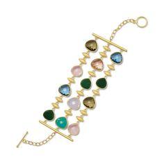 """7.75"""" 18 Karat Gold Plated Multicolor Glass Toggle Bracelet"""