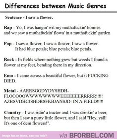 """The differences in music genres. """"Emo"""" is hilarious!"""