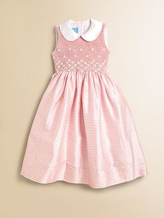 Anavini - Girl's Sabine Gingham Silk Dress - Saks.com