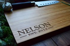 "Personalized Cutting Board Engraved Bamboo Wood ""Family Name in Corner"" for Wedding, Anniversary gift"