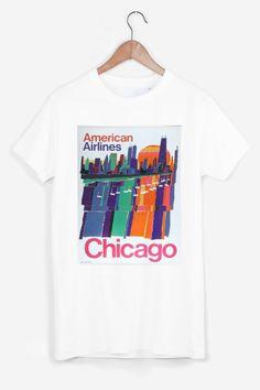 T-shirt blanc en coton, imprimé en France, à la main et avec soin. Col rond, coupe classique et droite adaptée à un vestiaire mixte casual.  Chicago de Faux pour Rad.