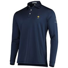 Men's Peter Millar Navy 2018 Ryder Cup Trophy Collection Solid Stretch Long Sleeve Polo Ryder Cup, Long Sleeve Polo, Golf Shirts, Polo Ralph Lauren, Navy, Mens Tops, Collection, Fashion, Hale Navy