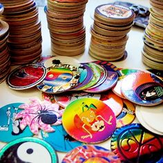 Branding idea - print a fun set of pogs for your company + brand and collect them all.