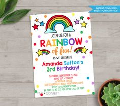 rainbow invitation, rainbow birthday invitation, rainbow party invitation, rainbow birthday party, rainbow party decor, hand drawn by TinyConfetti