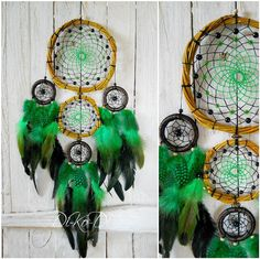 "Hi! My name is Anna Maria. I'm from Ukraine. In my stores, I create beautiful products for interior decoration of any room in your home.     Diameter 16 cm (6,2 inch), 9 cm (3,5 inch) and 5 cm (2 inch), length 52 cm (20,3 inch)    Materials: rooster feathers, Guinea fowl feathers, willow withe, glass beads, ceramic beads, cotton    Dreamcatcher, dream catcher (angl. inanimate form word ""spider"", or ""trap dreams"") — Indian talisman that protects the sleeper from evil spirits. Bad dreams…"