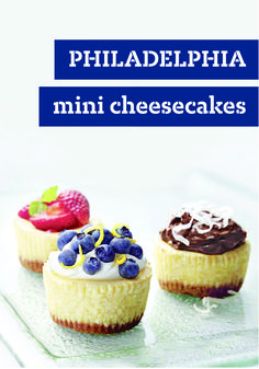 PHILADELPHIA Mini Cheesecakes – If you're a cheesecake fan, our easy recipe for luscious berry-topped minis will send you straight to the grocery store for the ingredients. You'll want to add this to your dessert menu this summer season! They may be mini in size, but they pack a lot of flavor that friends and family are sure to enjoy.