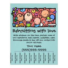 Babysitting day care child care promo glossy 4x5 flyer ...