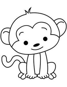 Page Printable Info - Korean Birthday - Korean Birthday Art Drawings For Kids, Drawing For Kids, Easy Drawings, Art For Kids, Monkey Drawing Easy, Easy Animal Drawings, Animal Coloring Pages, Colouring Pages, Coloring Sheets