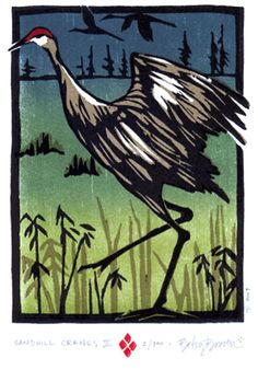 Betsy Bowen woodcut print. Sandhill Cranes#Repin By:Pinterest++ for iPad#