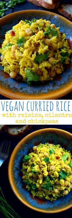 This vegan curried rice with raisins, cilantro and chickpeas is so quick and easy to make, nutritious and delicious. Steamed rice infused with curry powder and turmeric, raisins for a bit of sweetness(Vegan Gluten Free Pasta) Veggie Recipes, Indian Food Recipes, Whole Food Recipes, Vegetarian Recipes, Cooking Recipes, Healthy Recipes, Vegan Recipes For One, Healthy Beans, Rice Salad Recipes