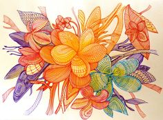 Abstract frangipani flower tree pen on paper by Handmadebusyspider