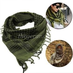 Unisex Checkered Arab Cotton Neck Scarf Wrap /Keffiyeh, Army Gre