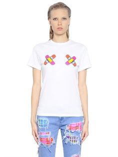 Sandro Trilogy Patch Tee. HOUSE OF HOLLAND FIGHT GIRL PRINTED COTTON T-SHIRT,  WHITE. #houseofholland #