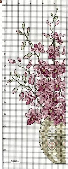 Cross-stitch Beautiful Flowers, part 3..  color chart on part 2...   Sandrinha Ponto Cruz