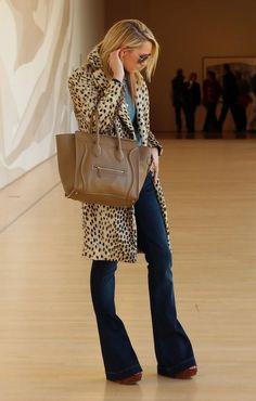Light denim top, dark denim flare jeans, leopard print belt, camel purse and shoes