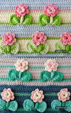 Watch The Video Splendid Crochet a Puff Flower Ideas. Phenomenal Crochet a Puff Flower Ideas. Crochet Borders, Crochet Flower Patterns, Crochet Stitches Patterns, Crochet Chart, Crochet Squares, Knit Or Crochet, Crochet Motif, Crochet Designs, Crochet Flowers