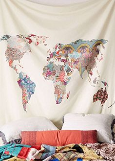 Please MAKE SURE YOU ORDER FROM FLBER at checkout. Some buyers receive blotchy and pixelated products or smaller products from other sellers, please return it asap. Size:60 inches x 60 inches Original world map in floral patchwork design