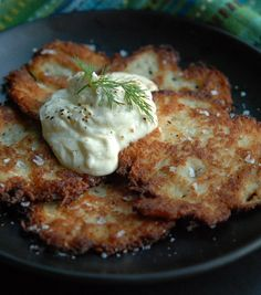 Crispy, creamy Potato Latkes #recipe