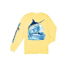 Guy Harvey Marlin Boat Men's Back-Print Long Sleeve Tee in White,... ($4) ❤ liked on Polyvore featuring men's fashion, men's clothing, men's shirts and men's t-shirts