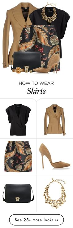 """Jaguard Mini Skirt"" by brendariley-1 on Polyvore featuring Burberry, Anthony Vaccarello, Dsquared2, Oscar de la Renta, Steve Madden, Michael Kors and Trifari"