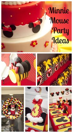 Wow, what great Minnie Mouse party ideas, including the Minnie Mouse cake and decorations. See more party ideas at CatchMyParty.com. #minniemouse #partyideas #girlbirthday