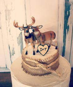 Buck and doe wedding cake topper-Deer hunting wedding cake topper-hunting-country western-deer-wedding cake topper via Etsy
