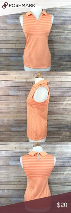 "PUMA Lifestyle Sport Polo Top Orange Stripe Sz XS PUMA Lifestyle Sport Top  Women's Size XS 100% Polyester Orange striped Sleeveless polo style Front Length = 25"" Chest / Bust = 34"" Sleeve Length = 7.5"" Excellent pre-owned condition without flaws  Thank You For Your Business! Puma Tops"