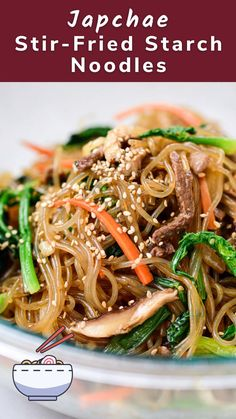Find out how to make authentic, delicious japchae with this time tested, readers' favorite recipe! Made with bouncy sweet potato starch noodles, japchae (or chapchae) is a classic dish everyone loves! #dinner #koreanrecipe #koreanbapsang @koreanbapsang | koreanbapsang.com Asian Recipes, Beef Recipes, Cooking Recipes, Healthy Recipes, Ethnic Recipes, Asian Foods, Potluck Recipes, Savoury Recipes, Rice Recipes
