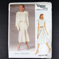 Vtg Vogue Pattern 1387 Size 10 American Designer John Anthony Out of Print Uncut