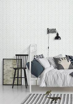 Self adhesive vinyl wallpaper - Chevron pattern print - 026 SNOW/ VENICE