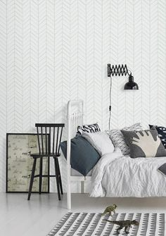 Self adhesive vinyl wallpaper - Chevron pattern print  - 026 SNOW/ VENICE