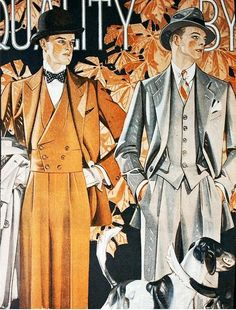 These fabulous Art Deco illustrations really do illustrate just how much thought and care went into menswear.These fabulous Art Deco illustrations really do illustrate just how much thought and care went into menswear. 1930s Fashion, Art Deco Fashion, Vintage Fashion, Fashion Men, Gentleman Fashion, Fashion Sites, Fashion Black, Victorian Fashion, Fashion Clothes