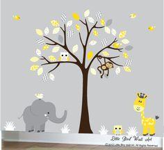 Nursery wall decal design art yellow grey by Littlebirdwalldecals