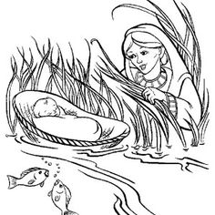 church house collection blog: baby moses in the basket coloring ... - Baby Moses Coloring Page Printable