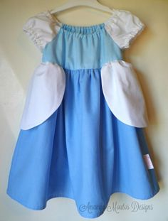 Cinderella Inspired Peasant Dress. Blue Ball Gown MADE TO ORDER Handmade. Great for Dress Up. Toddler Sizes 12mo, 18mo, 2T, 3T & 4T by AmandaMoutosDesigns on Etsy.  Your princess can have this dress, too, in any of 5 sizes. Heading to Disney? This dress is easy to wear, comfortable, park-worthy attire. https://www.etsy.com/listing/157963308/cinderella-inspired-peasant-dress-blue