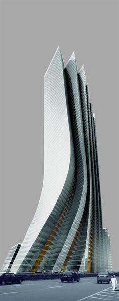 Empire Island Tower Abu Dhabi, UAE designed by Aedas 57 floors, height Architecture Dynamic Architecture, Futuristic Architecture, Beautiful Architecture, Contemporary Architecture, Architecture Design, Unusual Buildings, Amazing Buildings, Modern Buildings, Dubai Buildings