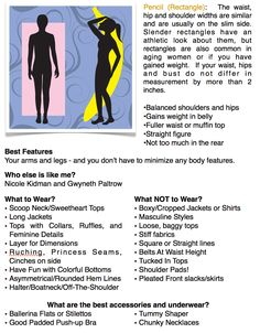 "Great fashion tips for the pencil/rectangle body shape. A page out of my book ""Overcoming Your Wardrobe"""