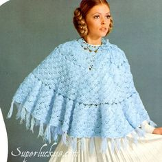 Vintage Poncho crochet pattern in PDF instant download version by Superlucky8 on Etsy