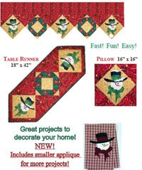 It's Snow Time Quilt Pattern by Happy Apple Quilts at KayeWood.com. Great for decorating your own home or for giving as gifts. Great at Christmas, or all winter long. It's Snow Time! Pattern now includes a smaller applique which can decorate many items - like towels! http://www.kayewood.com/item/It_s_Snow_Time_Quilt_Pattern/3763 $10.00