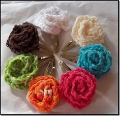 Crochet flower hair clips-these are so easy to make and look adorable!!