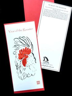 Rooster, Year of the Rooster card, Chinese new year cards w/ red envelope, from original sumi ink painting, new baby, holiday greeting $4.50 at zenbrush.etsy.com