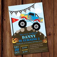 Monster Truck Party Invitation by SunshineParties, $5.00 #MonsterTruck #MonsterTruckParty #MonsterTruckInvitation