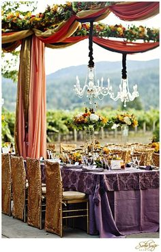 image of Wedding Tables ... gold & purple