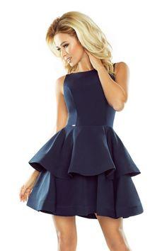 0e4aa613fd Sukienki · Granatowa mocno rozkloszowana sukienka z dwoma falbanami   falbana  rozkloszowana  granatowasukienka  sukienka