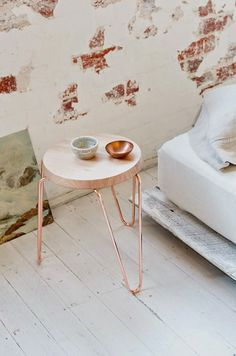 stackable side table made from Australian hard wood top with a copper base Copper Interior, Home Interior, Interior Decorating, Interior Design, Decorating Ideas, Decoration Inspiration, Interior Inspiration, Ideas Hogar, Diy Décoration
