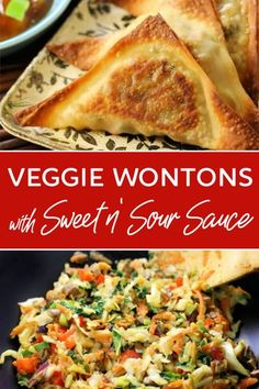 Delicious veggie wontons that get crisp in the oven - so much easier and healthier than frying! Dip them in homemade sweet & sour sauce that's easy to make and SO GOOD! #wonton #baked #Chinese #food #appetizer #sweet #sour #sauce #vegan #vegetarian #healthy #meatless #light #dinner #appetizer #party #starter #baked #fried #oven #sweet #sour #sauce