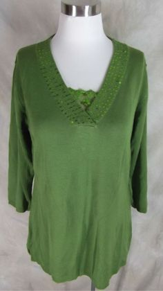16.14$  Buy now - http://visub.justgood.pw/vig/item.php?t=jfaq36d55342 - Susan Graver Sweater Fine Gauge V Neck Small Green Sequin Lace Detail