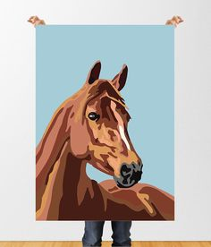 Horse Print Printable Paint By Numbers style Digital Colorful Drawings, Art Drawings, Horse Posters, Horse Artwork, Small Canvas Art, Animal Paintings, Horse Paintings, Pastel Paintings, Pop Art