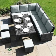 Maze Rattan Kingston Corner Sofa Dining Set - 150cm x 90cm Rectangular Table - Grey | White Stores